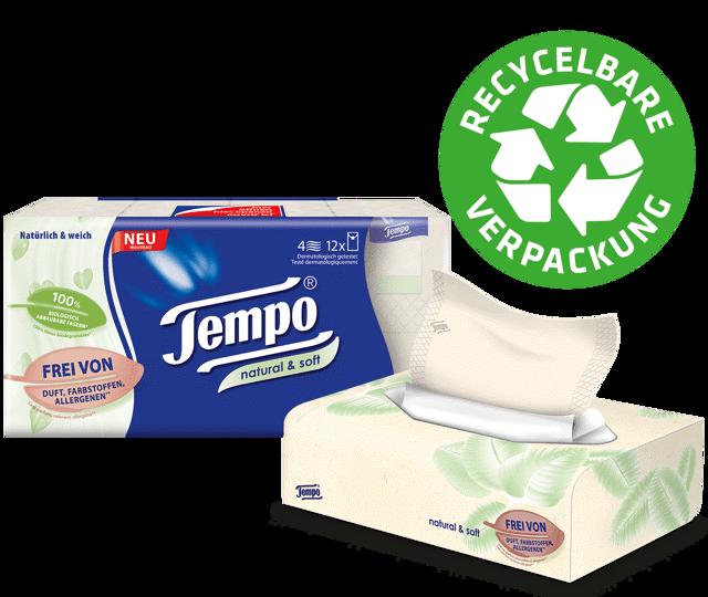 Tempo natural & soft Taschentücher – sanft zur Haut und naturnah