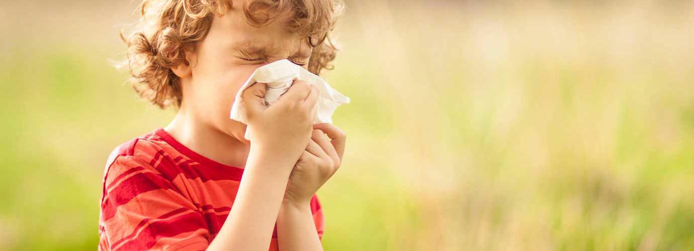 Een jongen met een pollenallergie snuit zijn neus buiten in een veld