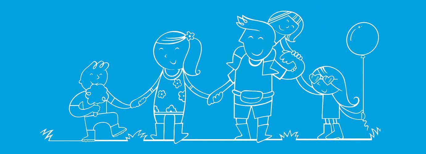Geïllustreerde familie op een festival houdt elkaars handen vast met een ballon en suikerspin